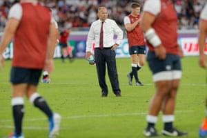England coach Eddie Jones during the warm-up.