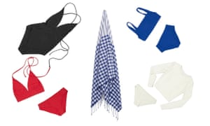 Black one-piece swimsuit, $239; red halter triangle bikini top, $129; red classic briefs, $119; check sarong, $189; cobalt square neck bikini top $129;  cobalt high waisted briefs, $129; white long sleeve swim top, $229; white classic briefs, $119