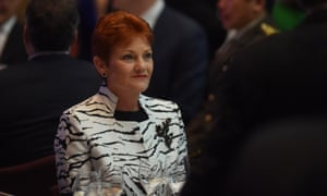 One Nation leader Pauline Hanson at a reception in Canberra on Wednesday. She has been given a spot on the parliamentary NBN committee, replacing Nationals senator John Williams.