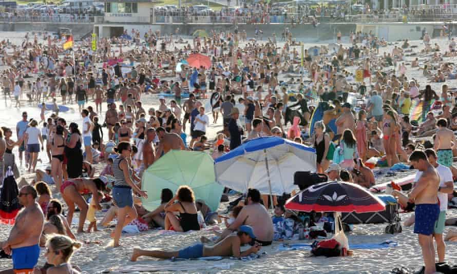 Beachgoers at Bondi Beach on 20 March