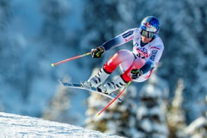 France's Alexis Pinturault during a training session for the men's downhill at the Alpine Skiing World Cup in Kvitfjell, Norway.