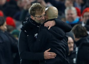 Klopp hugs Guardiola after the final whistle.