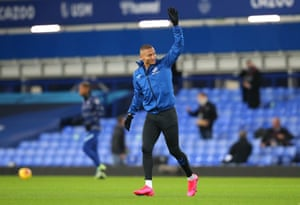 Everton's Richarlison waves to the supporters at Goodison.