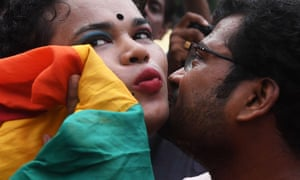 Indian members and supporters of the LGBT community celebrate the decision.