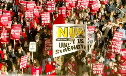 The NUS demonstrates against student loans in 2002.