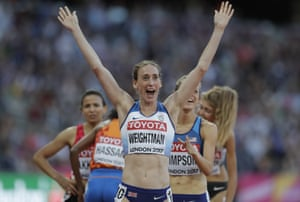 Britain's Laura Weightman celebrates qualifying for the final.
