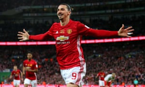 Zlatan Ibrahimovic wheels away after scoring Manchester United's late winner in the EFL Cup final at Wembley.