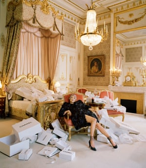 Kate Moss, Chanel boxes and a Coca- Cola, Chanel Haute Couture, The Ritz, Paris, 2012.