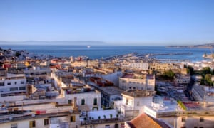 A rooftop view of the city of Tangier looking out onto the Mediterranean