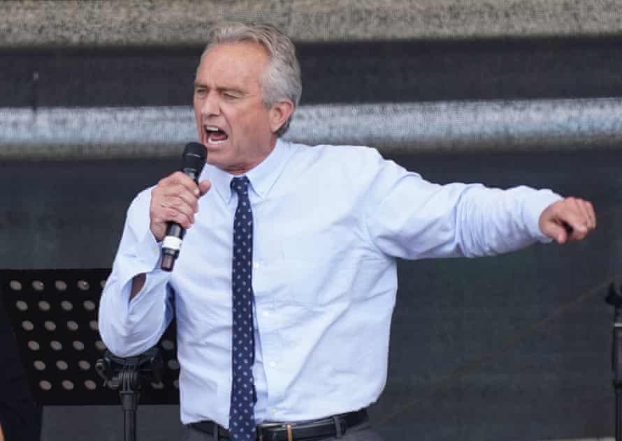 Robert F Kennedy Jr speaks during a protest against coronavirus-related restrictions in Berlin on 29 August 2020.