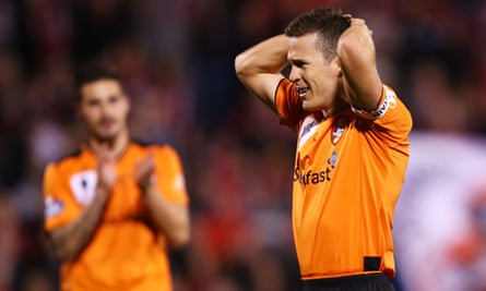 Matt McKay of the Roar reacts after a chance goes begging in the FFA Cup match against Western Sydney Wanderers earlier this month.