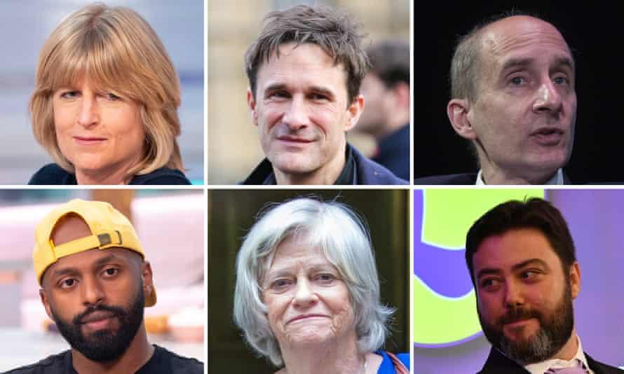 Clockwise from top left: Rachel Johnson, Crispin Hunt, Andrew Adonis, Carl Benjamin, Ann Widdecombe, Magid Magid.