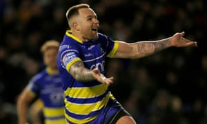 Warrington Wolves' Blake Austin celebrates scoring their fourth try