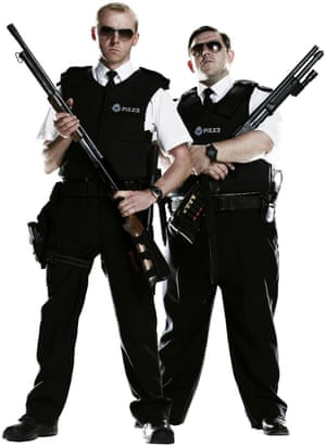 Arrested development: with Nick Frost in 2007's Hot Fuzz.