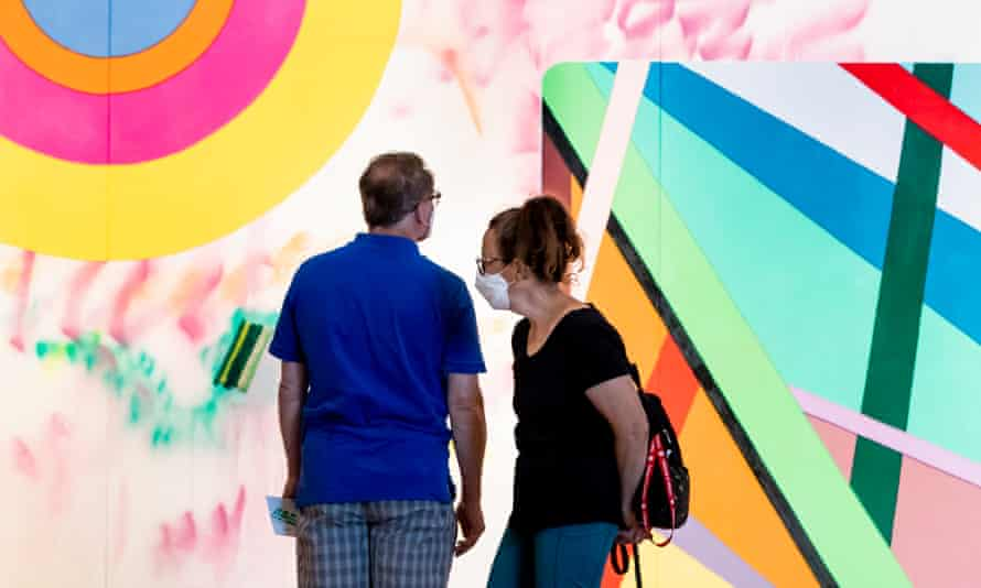 """'""""Real"""" life is forcing us to rethink how we structure our lives all over again' … visitors to the reopened National Gallery of Art in Washington, DC look at new installation My favorite season is the fall of the patriarchy, by artist Sarah Cain."""