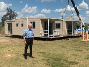 Ewen McPhee outside a pop-up coronavirus clinic in Emerald, central Queensland.