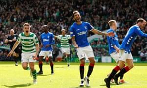 Celtic's James Forrest celebrates scoring their second goal.