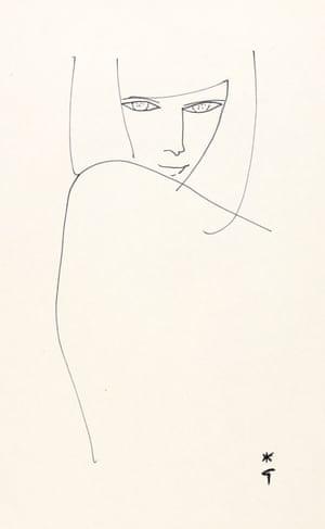 Line Drawing by René Gruau, 1950s.