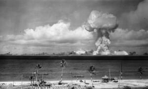 July 1946: A mushroom cloud forms after the initial Atomic Bomb test explosion off the coast of Bikini Atoll, Marshall Islands.