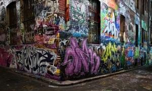 Hosier Lane area in central Melbourne.