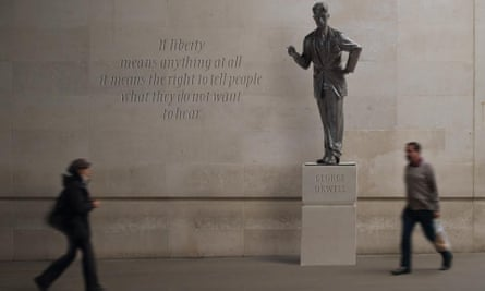 An artist's impression of how the George Orwell statue will look outside New Broadcasting House