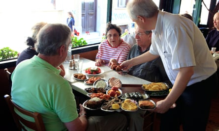 Mediterranean food is served