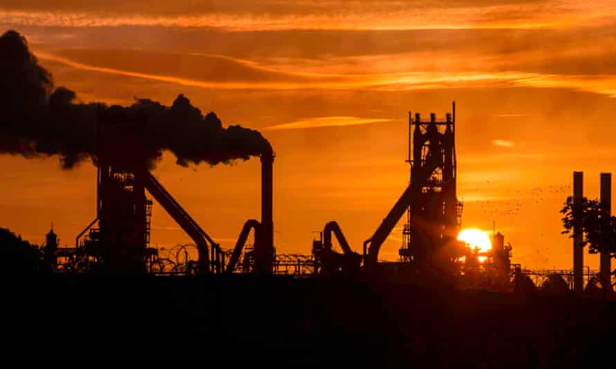 Smoke rises from the British Steel Scunthorpe plant in Lincolnshire.