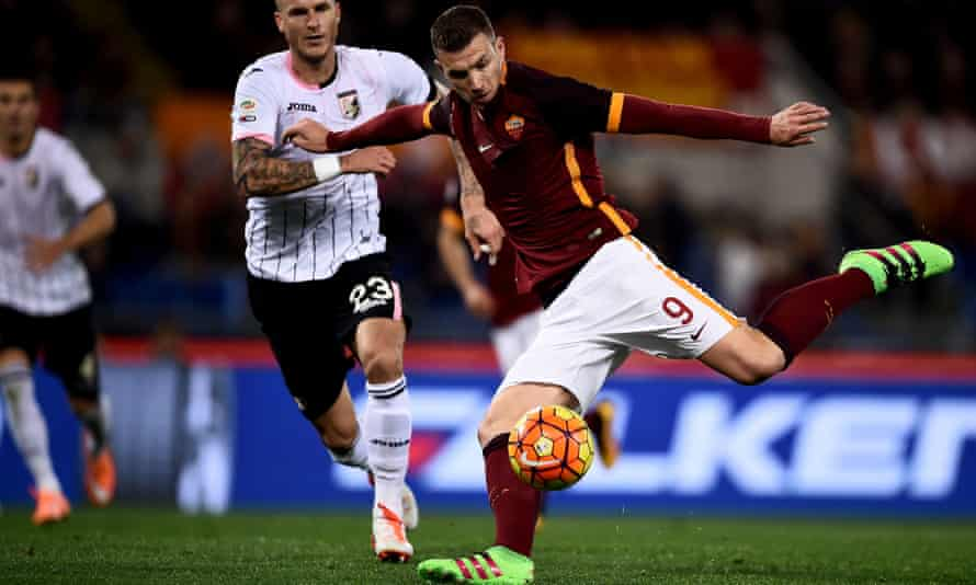 Edin Dzeko scores in a game that saw him make one of the misses of the season as Francesco Totti sat in the stands.