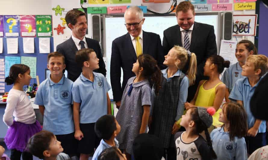 The prime minister Malcolm Turnbull (centre),  Simon Birmingham (left) and MP Craig Laundy at Strathfield North Public School in Sydney