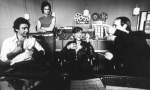 """Robert Fripp, producer, composer and songwriter Brian Eno and singer and songwriter David Bowie at Hansa Tonstudio aka """"'Hansa by the Wall"""" during the recording of the album Heroes"""