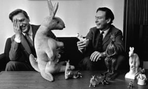 Peacock and Attenborough with a variety of toy kangaroos