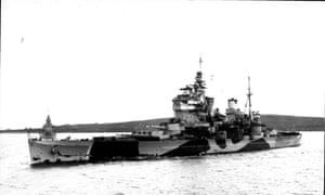 British Royal Navy battleship HMS Anson during the second world war.