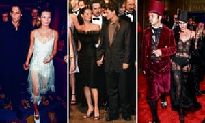L to R: Moss in 1998 with Johnny Depp; in Cannes with Depp the same year; New York, 1997.