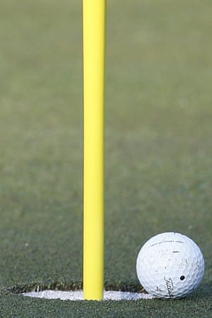 Tom Watson's agonising third shot which rolled to the edge of the cup on the 2nd