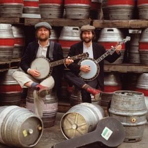 With beer barrels