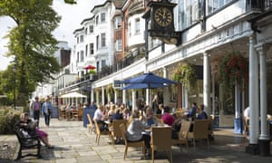 The Pantiles, Tunbridge Wells in Kent, UK<br>UNITED KINGDOM - SEPTEMBER 13: Street scene at The Pantiles pedestrian area of Tunbridge Wells with street cafe and shops in Kent, England, UK (Photo by Tim Graham/Getty Images)