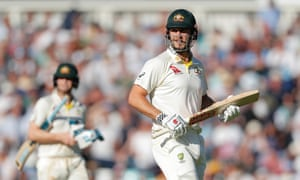 Mitch Marsh watches Jack Leach catch him out.
