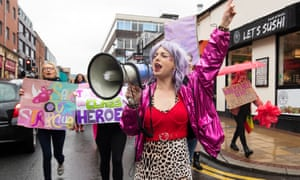 Strip club dancer Celia Lister protests to oppose moves to close a branch of Spearmint Rhino in Sheffield.