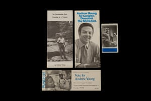 """Andrew Young's Congressional Campaign Material (1972) Elected over a century after Jefferson Long, Andrew Young became Georgia's second Black congressman. In the 60s Young worked with the Southern Christian Leadership Conference (SCLC), Martin Luther King Jr. foundational civil rights group. There he became close friends with King, and together they met with President Johnson to advocate for voting rights legislation. Johnson did not believe it was possible to pass such a bill right on the heels of the 1964 Civil Rights Act. """"I don't have the power,"""" Young remembers the president saying. """"We just have to find a way to get this president some power,"""" King told Young after the meeting. To focus public attention and to create the political will, SCLC and SNCC zeroed in on the movement in Selma. Andrew Young went on to serve as a two-term mayor in Atlanta and was appointed Ambassador to the United Nations under President Jimmy Carter."""