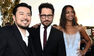 Justin Lin, JJ Abrams and Zoe Saldana at the premier of Star Trek Beyond.