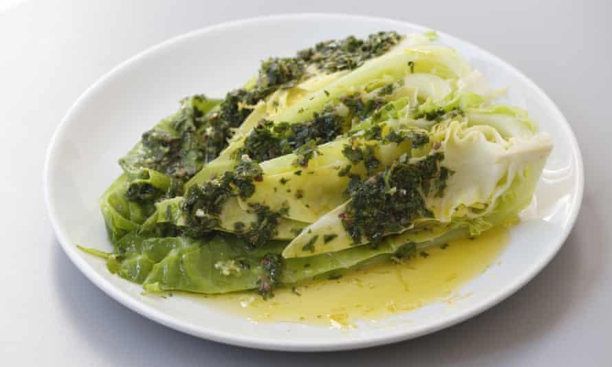 Hispi cabbage with salsa verde