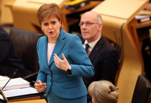 First Minister Nicola Sturgeon during First Minister's Questions at the Scottish Parliament today.