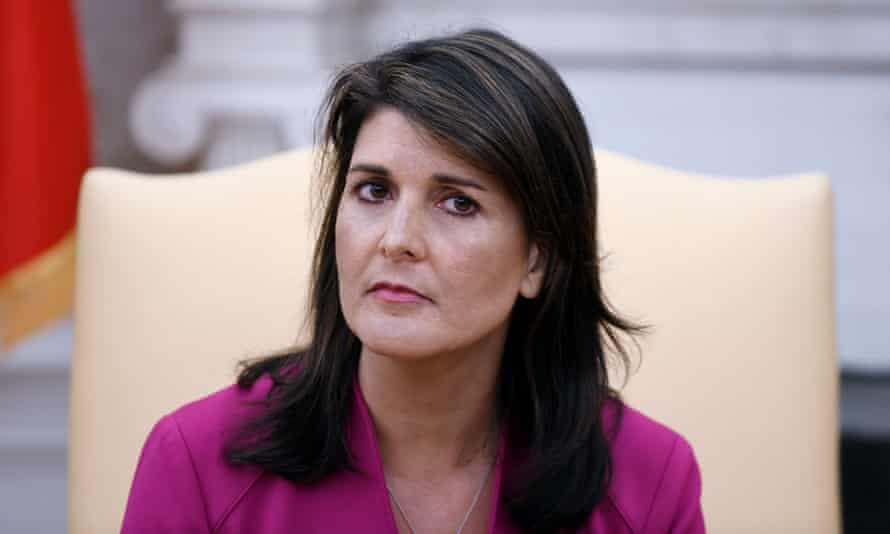 """US-POLITICS-DIPLOMACY-UN-TRUMP<br>Nikki Haley, the United States Ambassador to the United Nations looks on during a meeting with US President Donald Trump speaks in the Oval office of the White House October 9, 2018 in Washington, DC. - Nikki Haley resigned Tuesday as the US ambassador to the United Nations, in the latest departure from President Donald Trump's national security team. Meeting Haley in the Oval Office, Trump said that Haley had done a """"fantastic job"""" and would leave at the end of the year. (Photo by Olivier Douliery / AFP)OLIVIER DOULIERY/AFP/Getty Images"""