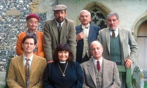 Bluthal, top row, second right, as Frank Pickle, with members of The Vicar of Dibley's cast in 1994. From left: Liz Smith, Roger Lloyd-Pack and Trevor Peacock. Front row: James Fleet, Dawn French and Gary Waldhorn.