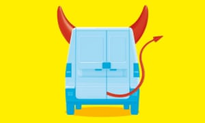 Graphic of a van with Devil's horns