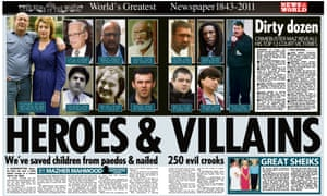 News of the World spread titled Heroes and Villains