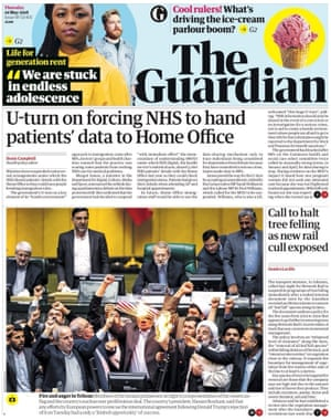 Guardian front page, Thursday 10 May 2018