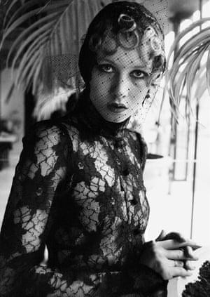 Brown Biba lace evening dress, London 1970