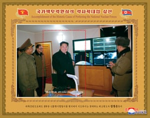 This photo released by North Korea's Korean Central News Agency (KCNA) shows Kim Jong-un appearing to monitor the missile launch