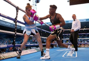 Nicola Adams (right) in action against Soledad Del Valle Frias during their International Flyweight bout at Elland Road, Leeds.